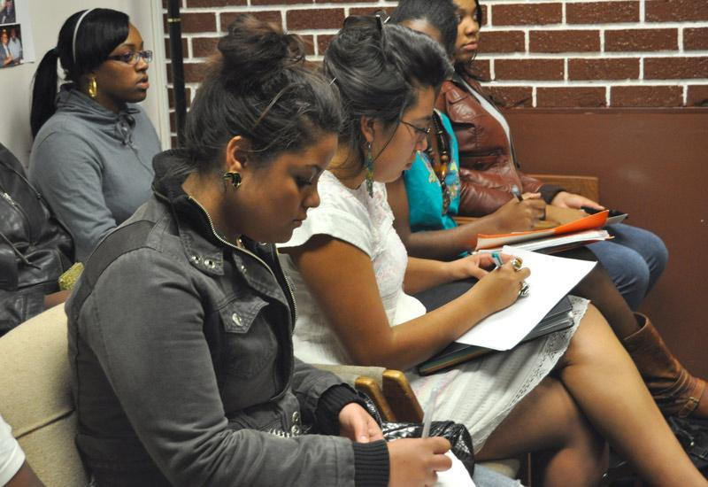 "Students listen at the Black Student Union's (BSU) ""N-Word"" forum Tuesday. Photo Credit: Jacquelyn Hampton / Staff Reporter"