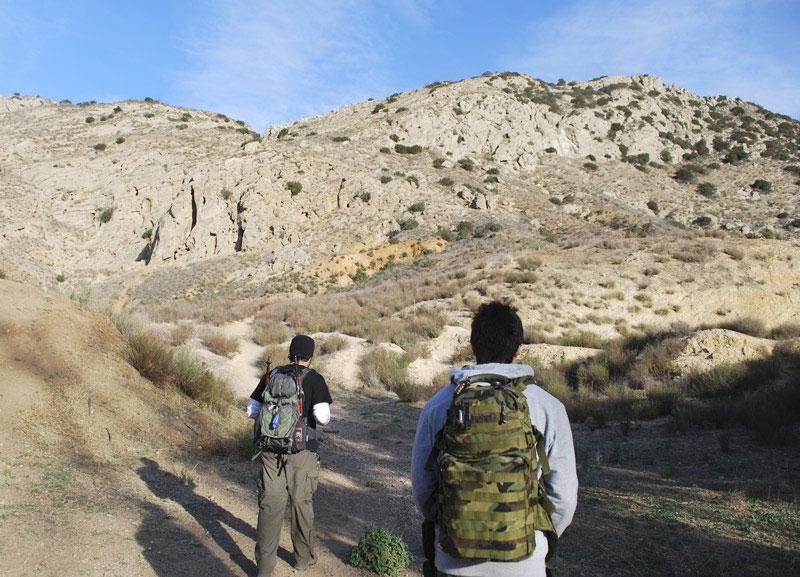 Tim Szczepanski, coordinator of Outdoor Adventures, a new student-run program, and Myles Diamond, trip leader, head out to El Escorpión Park in West Hills, Dec. 4. Photo Credit: Aprile Sumague / Staff Reporter