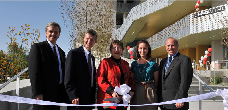 Ryan Hecksel / Staff Photographer CSUN President Jolene Koester and representatives from CannonDesign officially dedicate CSUN's newest science building, Chaparral Hall.