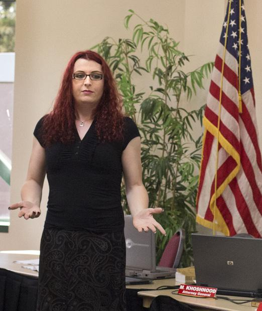 Cadence Valentine, a psychology major and transgender advocate, gives a workshop on transgender equality to the A.S. senators during their meeting in the Thousand Oaks room on April 26. Photo credit: Trevor Stamp / Contributor