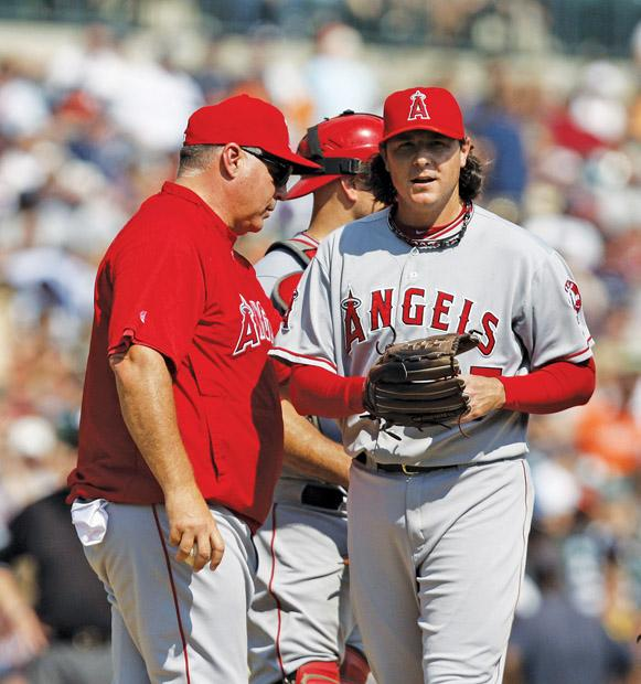 Mike scioscia has seen his bullpen, starting pitching and offense start off poorly and put his job on the line. Photo courtesy of MCT