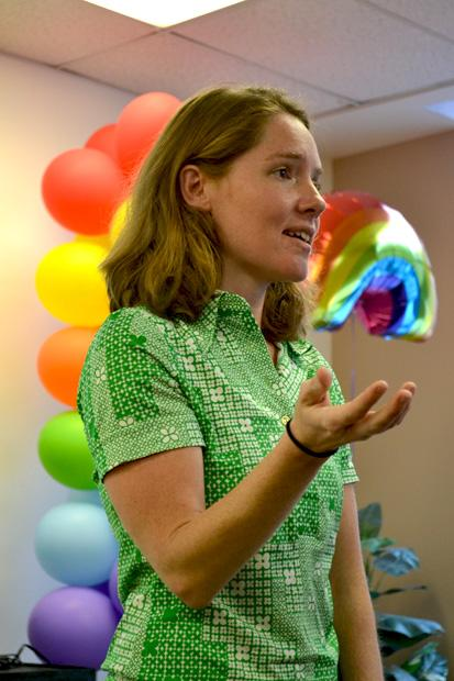 """Erin Davies visits CSUN to talk about her experiences traveling across the U.S. with the Fagbug, her Volkswagen bug that was vandalized with the word """"fAg.""""  She speaks at colleges, high schools, conferences and radio stations about hate crimes and prejudice regarding the LGBTQ community. Photo credit by John Saringo-Rodriguez / Daily Sundial"""