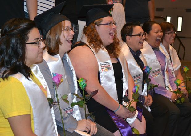 CSUN students line up to take photos with friends and family at Rainbow Graduation. Photo credit: John Saringo-Rodriguez / Photo Editor
