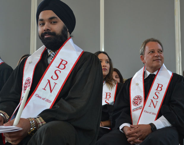 CSUN students from the College of Health and Human Development graduated on Tuesday, May 21. Traditionally, nursing students participate in a pinning ceremony and their graduation ceremony upon completing their degrees.  Photo credit: John Saringo-Rodriguez / Photo Editor
