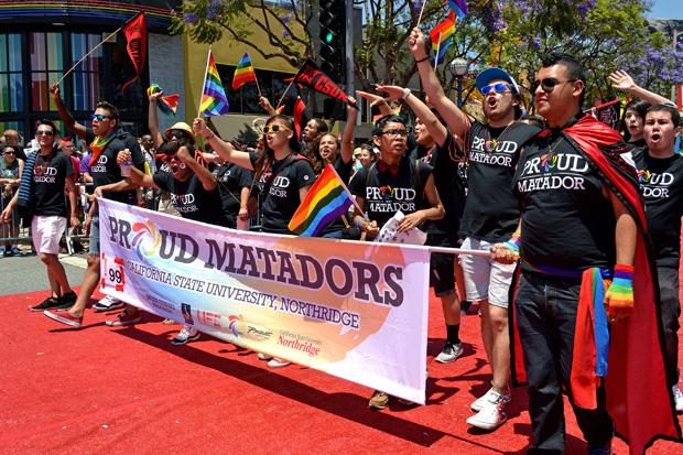 CSUN students and Pride Center staff celebrate diversity by marching in the Los Angeles pride parade in June. Photo credit: John Saringo-Rodriguez / Photo Editor