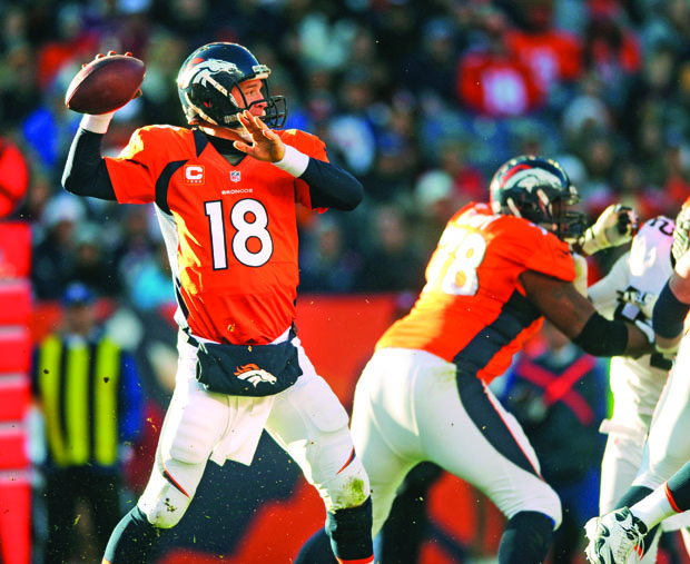 Denver Broncos quarterback Peyton Manning drops back to pass during a game against the Cleveland Browns last season. Photo credit: MCT