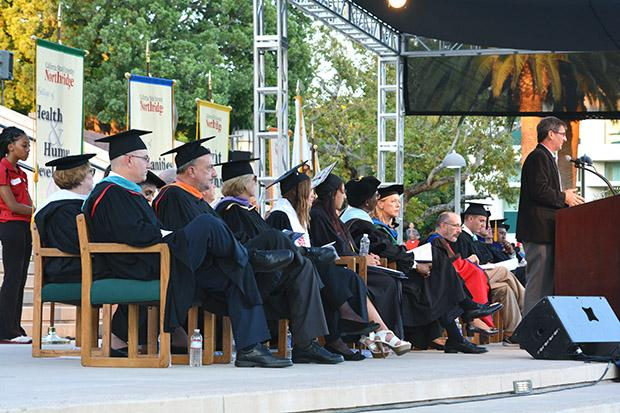 Speakers at the convocation included CSUN president Dianne F. Harrison, Dr. Harold Hellenbrand, provost and vice president for academic affairs, Dr. William Watkins, vice president for student affairs and dean of students, Angela Lara Lomeli, CSUN Alumnus and Edward Humes, Pulitzer Prize-winning journalist. Photo credit: John Saringo-Rodriguez / Photo Editor