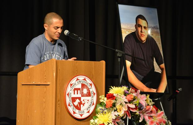 Eman Morgan shed a tear while speaking of his best friend, Ahmed Michael Jabali, at his memorial service that took place at the Northridge Center on Monday night. Jabali passed away at the Student Recreational Center on Sept. 30. Photo credit: John Saringo-Rodriguez / Photo Editor