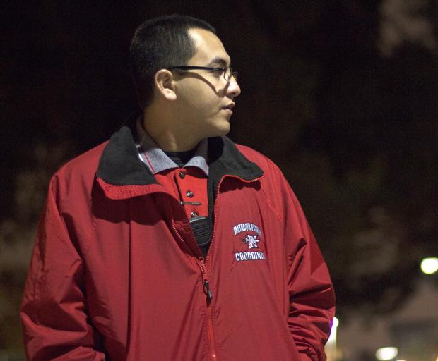 Peter Sanchez, 21, a junior criminology major, and coordinator for Community Service Assistants, is a member of the Matador Patrol, a volunteer service that escorts students walking around the campus at night. Photo credit: Trevor Stamp / Daily Sundial