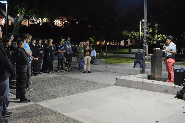 A crowd of over 50 people attended the LGBTQA Candlelight Vigil on Thursday. Photo credit: John Saringo-Rodriguez / Photo Editor