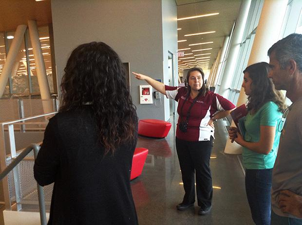University Ambassador Mercedes Ramos, describes the different activities available in the SRC. Ambassadors give campus tours to prospective students. Photo credit: Lisa Anderson / Daily Sundial