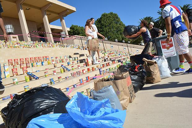 950 articles of clothing were donated to the clothing and food drive over the last week and a half. In addition CSUN students and faculty donated 25 toys and 50 books. Photo credit: John Saringo-Rodriguez / Photo Editor