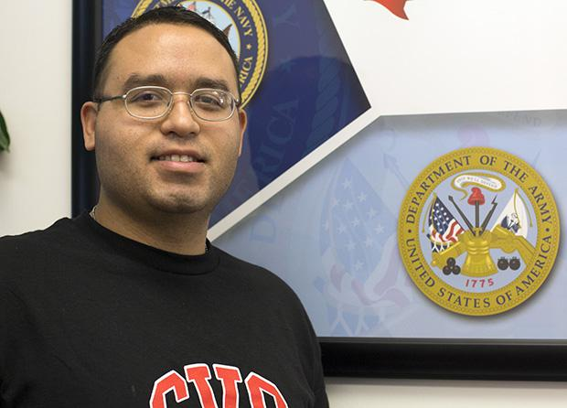 Tomas Diaz, 28, senior business and supply chain major, is an Army reservist and vice president for the Student Veteran Organization. Diaz served in Afghanistan. Photo credit: Trevor Stamp / Daily Sundial