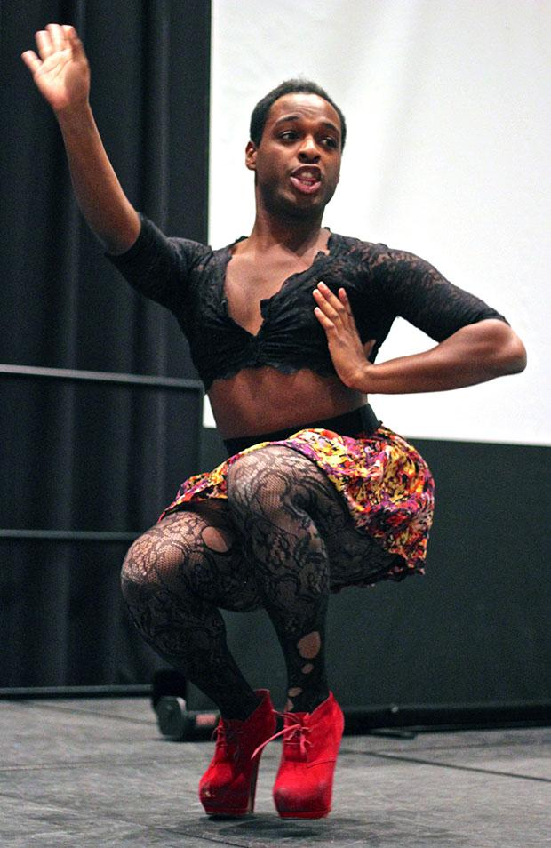 "Ctarr Spencer performs an urban dance at the ""T is No Longer Silent"" talent show at the Northridge Center, USU, Thursday evening. Photo credit: Lucas Esposito / Daily Sundial"