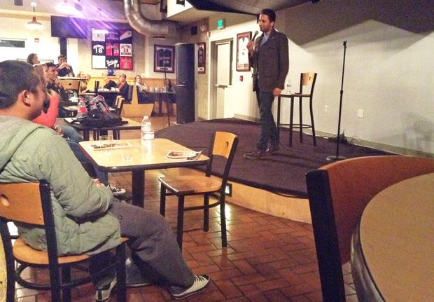 Comedian Fahim Anwar talks about his troubles with the ladies to guests at Operation Comedy, hosted by the Student Veteran Organization at CSUN's Pub Sports Grill. Photo credit: Michelle Dominguez