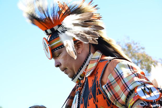 American Indian dancers and singers wore their intricately patterned garb and gave traditional performances for the hundreds of spectators who attended the powwow on Saturday. Photo credit: John Saringo-Rodriguez / Photo Editor