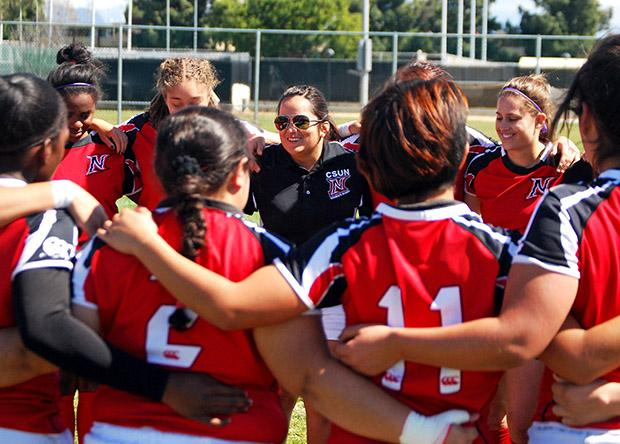 Christina Alatorre, 27, has been coaching the women's rugby team for three years. Alatorre frequently uses her seven years of experience to help shape the team into better players. Photo credit: Laura Pierson / Contributor