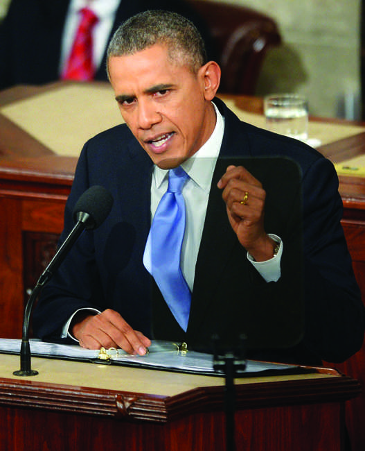 President Barack Obama delivers his State of the Union speech during a joint session of Congress on Capitol Hill in Washington, D.C., Tuesday, January 28, 2014. (Olivier Douliery/Abaca Press/MCT)