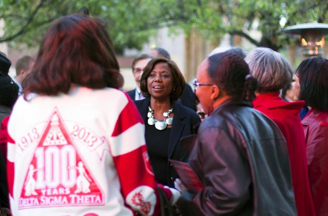 Former CSUN president, Dr. Blenda J. Wilson, sings with her Delta Sigma Theta sorority sisters after the dedication ceremony honoroing Dr. Wilson's role as president during the 1994 Northridge Earthquake. Dr. Wilson was hailed as one of the driving forces that kept the school in operation despite the major damage it suffered as a result of the earthquake. Photo credit: Trevor Stamp / Daily Sundial
