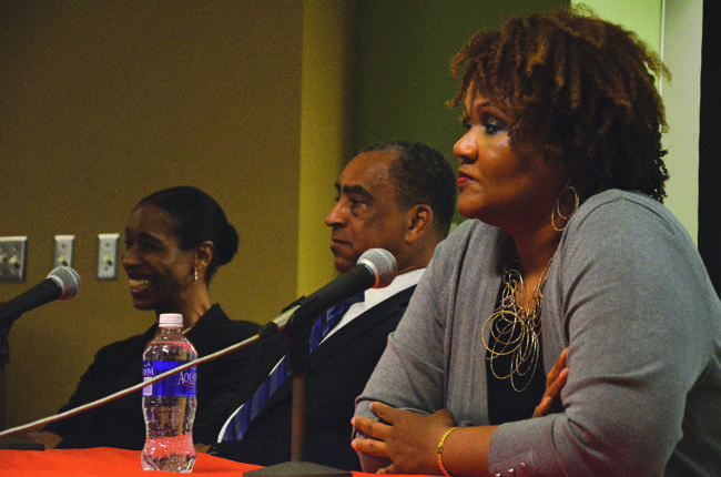 Journalists Ann Simmons, Bob Butler and Darlene Donloe recall their experiences reporting on the life of Nelson Mandela at an event held by the CSUN chapter of the National Association of Black Journalists Photo Credit: Vincent Nguyen/Contributor