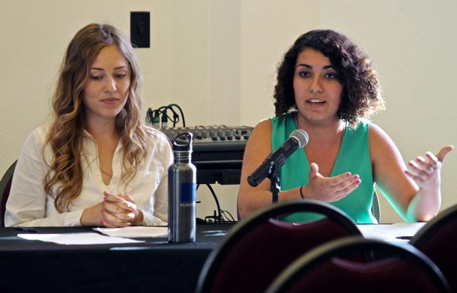 """President candidate Tiffany Zaich (left) and vice president candidate Talar Alexanian (right), both defending the """"United We Thrive"""" platform, speak during the A.S Presidential Debate, Monday, in the Flintridge Room at the USU. Election days will be on April 1st and 2nd, and there will be on-campus polling locations. Photo Credit: Lucas Esposito / Daily Sundial"""
