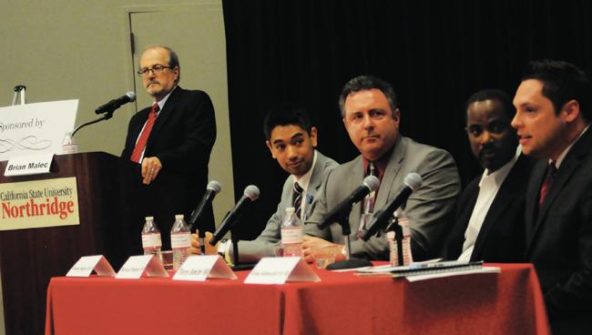 "During a healthcare panel titled ""Inside the Health Industry,"" CSUN alumni gathered to discuss information concerning healthcare. It was moderated by Brian Malec. The panel included George B. Higgins, Richard D. Trogman, Terry L. Smith and Gregory B. Adamczak."