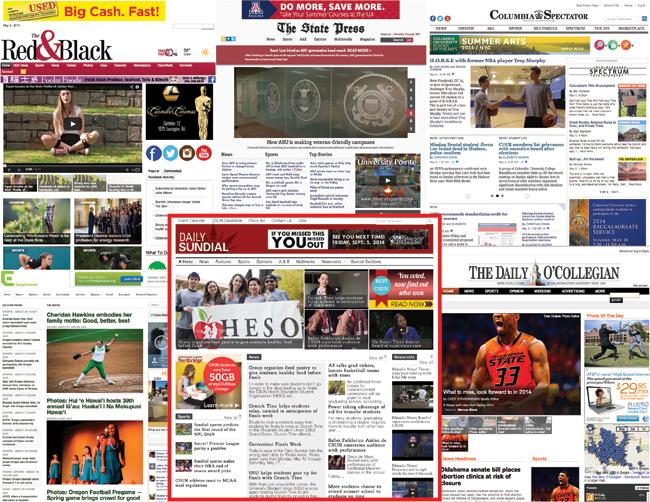 University newspaper websites from several universities that publish weekly or up to three times a week. (Designed by: David J. Hawkins/Photo Editor)