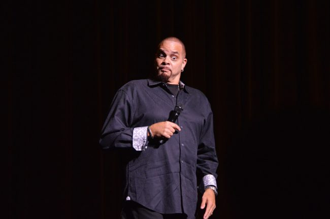 """Sinbad, legendary comedian and actor, had the audience laughing during his performance Thursday night at the VPAC. Taking advantage of the university setting, he poked fun at """"third year freshman"""" and """"fifth year seniors"""". Photo Credit: Crystal Lambert/ The Sundial"""