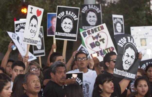Family, friends and supporters of Armando Villa held an anti-hazing rally in July. Today the coroner's report ruled Villa's death was do to dehydration and hyperthermia. Photo Credit: Pete Camarillo/ The Sundial