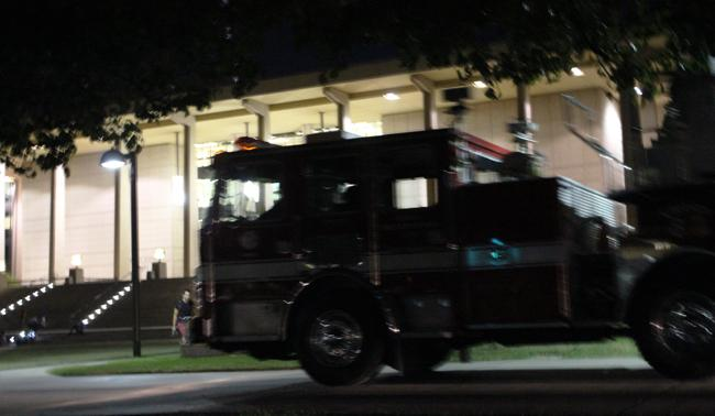 The LA Fire Department responded to an alarm in the Oviatt Library due to an electrical short in the elevator motors. Photo Credit: Araceli Castillo/ Photo Editor