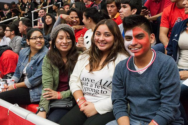 Female fans show their support at a Men's Basketball game against Montana State, Nov. 19.