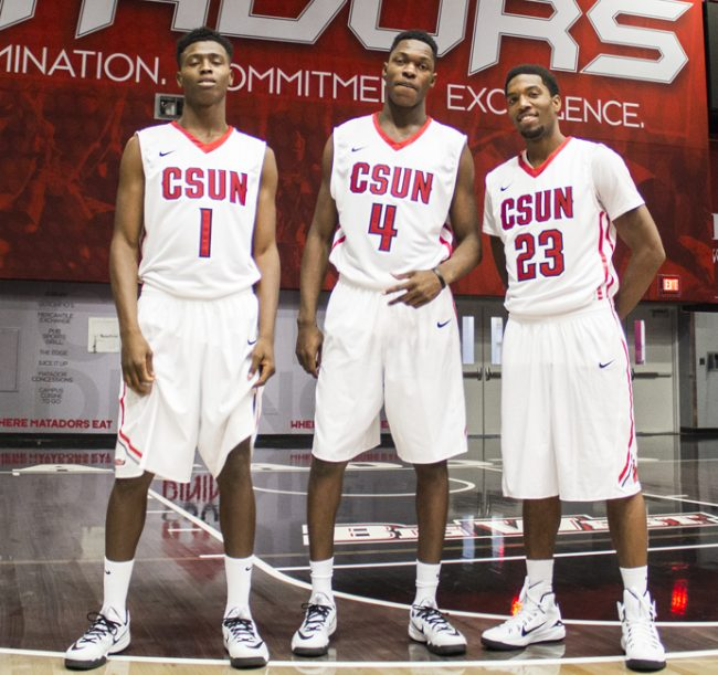 From left: Freshmen Michael Warren, Tavrion Dawson and Jerron Wilbut during the Men's Basketball media day on Nov. 6, 2014 in the Matadome. Photo credit: Trevor Stamp/The Sundial