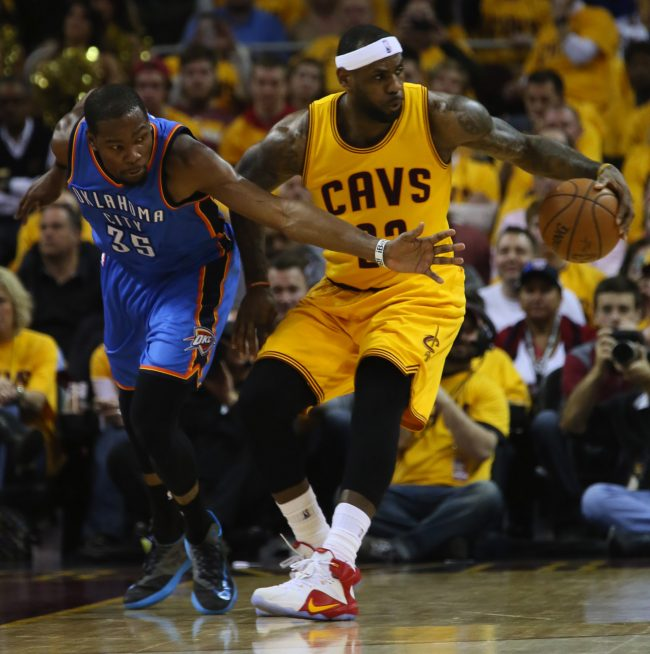 Kevin Durant (left) and LeBron James (right) will feature in the 2015 NBA All-Star game next month and were voted by fans to be part of the Western and Eastern Conference rosters. Photo courtesy of Tribune News Services.