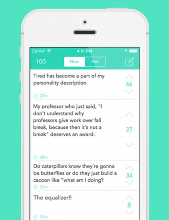 Yik Yak allows college students to anonymously post messages about their anxieties, complaints and general observations. (Photo courtesy iTunes App Store/TNS)
