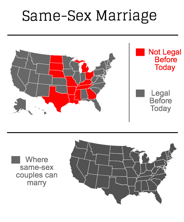 An infographic showing the states before and after the Supreme Court decision on Friday, June 26, 2015. Photo credit: Brooke Holland