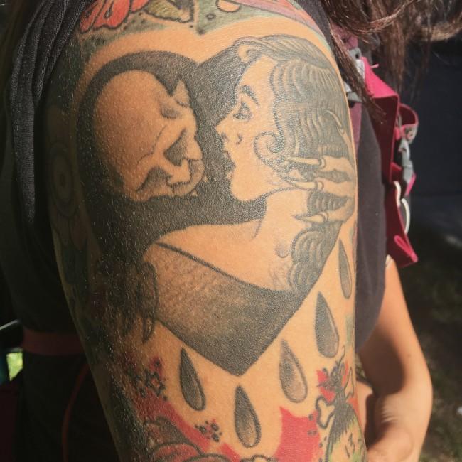 A CSUN student shows off her Nosferatu tattoo.