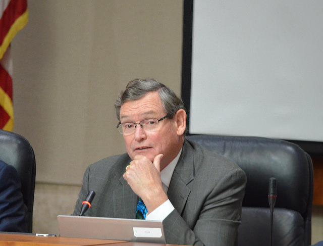 CSU chancellor Tim White presides over the Nov. 17 Board of Trustees meeting in Long Beach.