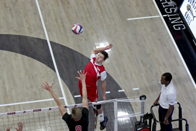 Dimitar Kalchev returns serve against Stanford University on Feb. 6. He is among the leaders in the NCAA in aces, despite only playing volleyball for six years.
