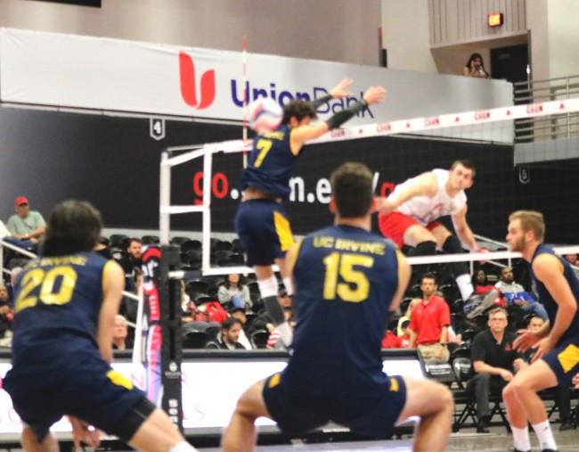 Jakub Ciesla, junior outside hitter, leads CSUN to victory over UC Irvine by earning 25 kills Wednesday night at Matadome. (Kanako Miyazaki/The Sundial)