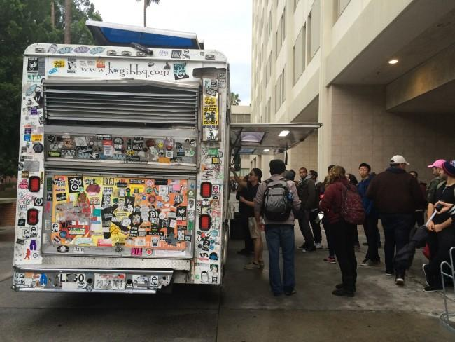 Students wait as long as it takes to experience the food from the Kogi Food Truck. (Hannah Brunelli/The Sundial)