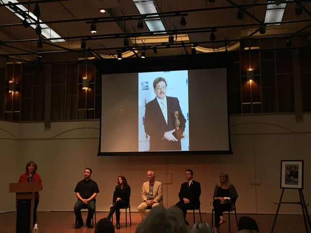 Linda Bowen introducing the next speaker at Keith Goldstein's memorial. Photo Credit: Meliss Arteaga/ The Sundial