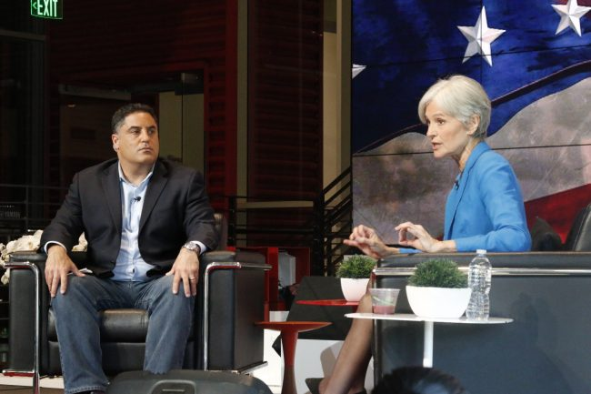 Presidential Candidate, Jill Stein(right) addreses the audience in an interview conducted by Cenk Uygur (left) for TYT at the YouTube Space LA on Friday Oct. 21 around 3pm.