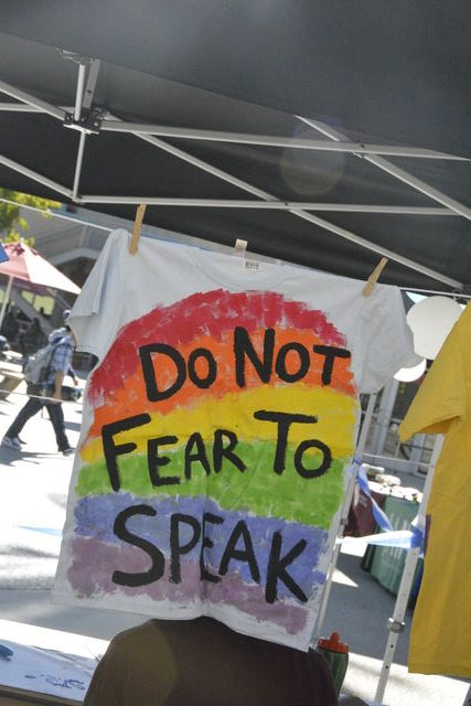 """""""Do Not Fear To Speak"""" shirt made as part of Project Date's clothesline project. Photo credit: Samantha Gullikson"""