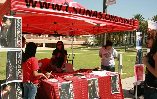 Associated Students (A.S.) collaborate with different organizations and clubs on campus to help promote Matatude Tuesdays and events on-campus on the Oviatt lawn on Tuesday. Photo Credit: Katie Chavarin / Staff Photographer