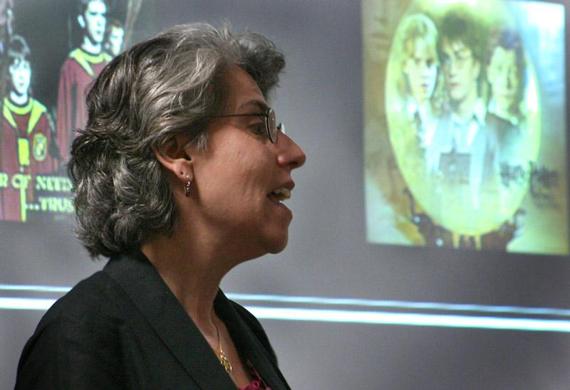 Sabrina Magliocco, an anthropology professor from CSUN, gave a lecture on the ancestors of Harry Potter and the history of witchcraft and folklore during a presentation on campus in the Whitsett Room in Sierra Hall Monday. Photo Credit: Katie Chavarin / Staff Photographer
