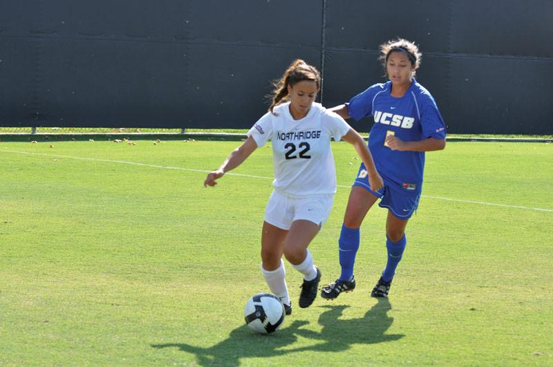 Midfielder Marie Hirsch, seen here in a game against UCSB, and the Matadors hit the road this weekend to play two Big West Conference games.