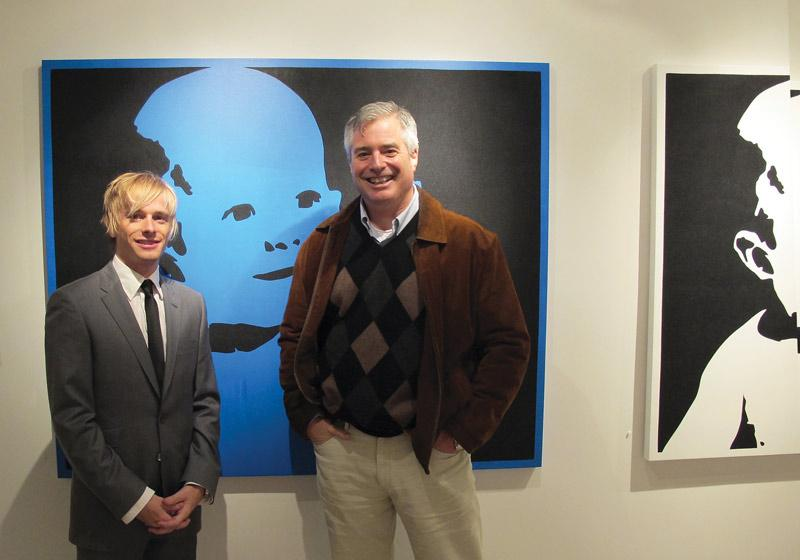 Christopher Hayden, left, sold the first painting of the exhibit to Sean Sullivan, associate publisher of Good Housekeeping magazine. Photo courtesy of Christopher Hayden.