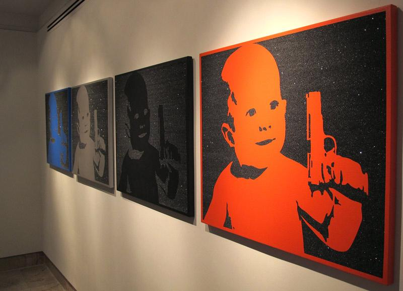 Some of Christopher Hayden's works are seen on display at the AFP Galleries in New York City.  Photo courtesy of Christopher Hayden.
