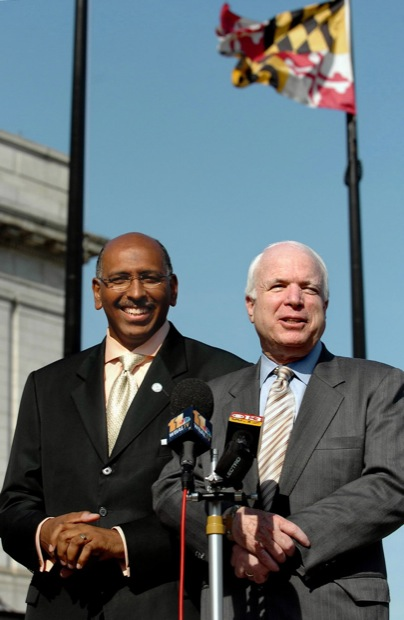 The GOP voted Friday, January 30, 2009, to make Michael Steele, the former lieutenant governor of Maryland, the chairman of the Republican National Committee. In this 2006 photo, Maryland Lt. Gov. Michael Steele and U.S. Senator John McCain spoke with the press about Steele's run for U.S. Senate in Baltimore, Maryland, June 16, 2006. (Monica Lopossay/Baltimore Sun/MCT)