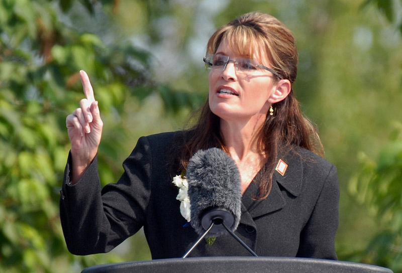 Alaska Gov. Sarah Palin gives her resignation speech during a ceremony at Pioneer Park in Fairbanks, Alaska, on Sunday, July 26, 2009. (Bill Roth/Anchorage Daily News/MCT)